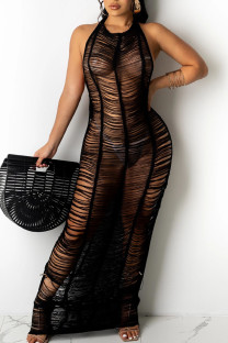Black Sexy Solid Hollowed Out Split Joint See-through Swimwears Cover Up