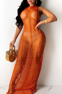 Tangerine Sexy Solid Hollowed Out Split Joint See-through Swimwears Cover Up