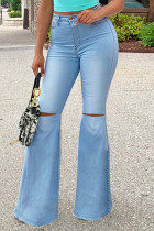 Light Blue Fashion Casual Solid Ripped Plus Size Jeans