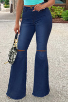 Deep Blue Fashion Casual Solid Ripped Plus Size Jeans