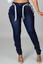 Deep Blue Fashion Casual Solid Bandage Hollowed Out Plus Size Jeans