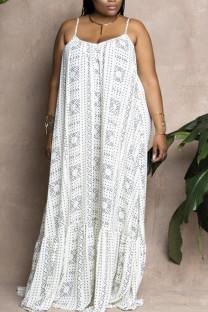 White Sweet Print Split Joint Spaghetti Strap Sling Dress Dresses