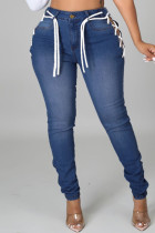 Medium Blue Fashion Casual Solid Bandage Hollowed Out Plus Size Jeans