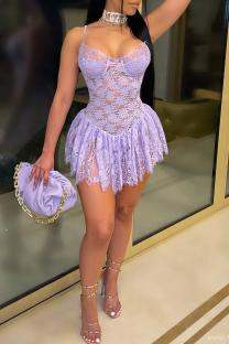 Purple Sexy Patchwork Lace Spaghetti Strap Cake Skirt Dresses