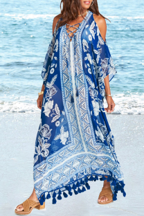 Blue Casual Print Hollowed Out See-through Mesh Swimwears Cover Up