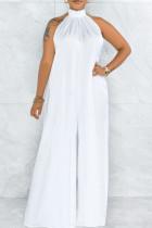 White Elegant Solid Split Joint Backless Halter Loose Jumpsuits