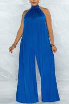 Blue Elegant Solid Split Joint Backless Halter Loose Jumpsuits