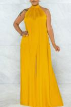 Yellow Elegant Solid Split Joint Backless Halter Loose Jumpsuits