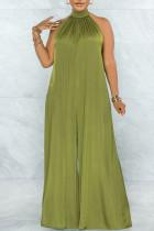 Green Elegant Solid Split Joint Backless Halter Loose Jumpsuits