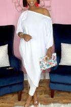 White Fashion Casual Print Asymmetrical Oblique Collar Three Quarter Two Pieces