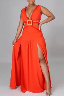 Tangerine Red Sexy Solid Bandage Hollowed Out Split Joint Backless Slit V Neck A Line Dresses