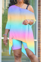 Rainbow Color Sexy Patchwork Print asymmetrical Straight Long Sleeve Two Pieces