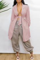 Pink Casual Solid Bandage Backless V Neck Outerwear