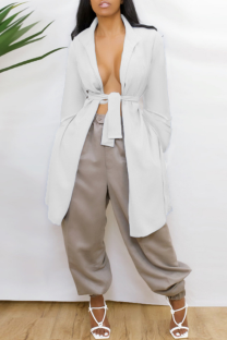 White Casual Solid Bandage Backless V Neck Outerwear