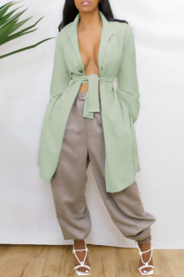 Green Casual Solid Bandage Backless V Neck Outerwear