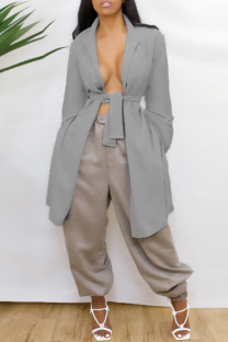 Grey Casual Solid Bandage Backless V Neck Outerwear