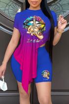 Purple Fashion Casual Gradual Change Print Asymmetrical O Neck Short Sleeve Two Pieces
