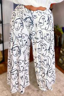 Black White Fashion Casual Print Pocket Plus Size Trousers