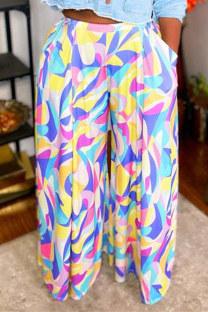 Colour Fashion Casual Print Pocket Plus Size Trousers