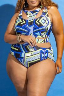 Blue Fashion Sexy Print Hollowed Out Split Joint O Neck Plus Size Swimwear