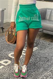 Green Fashion Casual Print Basic Regular High Waist Shorts