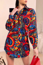 Red Sexy Casual Print Split Joint Buckle Turndown Collar Tops
