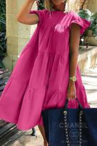 Rose Red Casual Solid Split Joint O Neck Cake Skirt Dresses