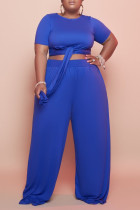 Blue Fashion Casual Solid Bandage O Neck Plus Size Two Pieces