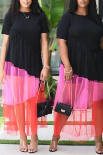 Black Casual Solid Split Joint Asymmetrical O Neck A Line Plus Size Dresses
