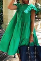Green Casual Solid Split Joint O Neck Cake Skirt Dresses