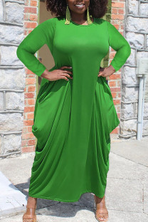 Green Casual Solid Split Joint Asymmetrical O Neck Irregular Dress Plus Size Dresses
