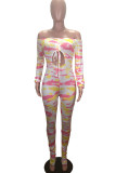 Pink Fashion Print Bandage Hollowed Out Backless Off the Shoulder Skinny Jumpsuits