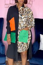 Black Casual Leopard Split Joint Turndown Collar Shirt Dress Dresses