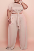 Nude Fashion Casual Solid Bandage O Neck Plus Size Two Pieces