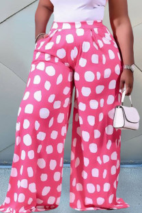 Pink Casual Print Split Joint Plus Size