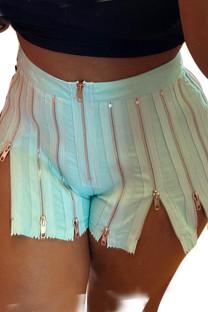 Light Blue Street Solid Split Joint Zipper Straight High Waist Straight Solid Color Bottoms