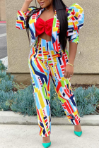 Rainbow Color Sexy Print Split Joint Long Sleeve Two Pieces
