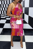 Rose Red Sexy Casual Print Hollowed Out Backless One Shoulder Sleeveless Dress