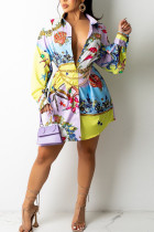 Multicolor Casual Print Split Joint Buckle Turndown Collar Tops (Contain The Belt)