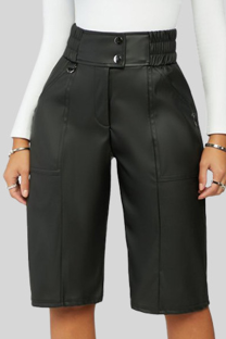 Black Casual Solid Buckle Buttons Straight Mid Waist Straight Solid Color Bottoms