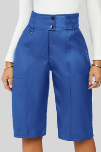 Blue Casual Solid Buckle Buttons Straight Mid Waist Straight Solid Color Bottoms