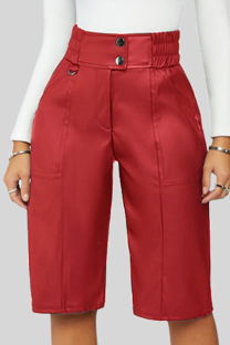 Red Casual Solid Buckle Buttons Straight Mid Waist Straight Solid Color Bottoms