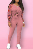 Pink Street Print Bandage Hollowed Out Split Joint O Neck Long Sleeve Two Pieces