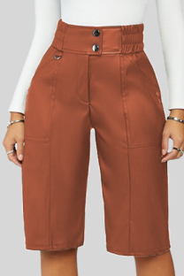 Khaki Casual Solid Buckle Buttons Straight Mid Waist Straight Solid Color Bottoms