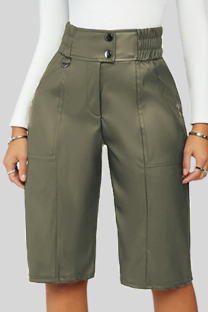 Green Casual Solid Buckle Buttons Straight Mid Waist Straight Solid Color Bottoms