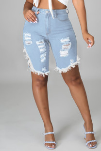 Baby Blue Fashion Casual Solid Ripped Slit High Waist Jeans
