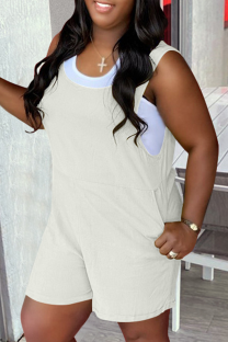White Casual Solid Split Joint U Neck Straight Jumpsuits