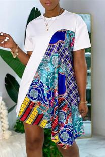 White Fashion Casual Print Split Joint O Neck Short Sleeve Dress