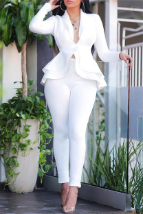 White Fashion Casual Solid Split Joint Flounce Turndown Collar Long Sleeve Two Pieces