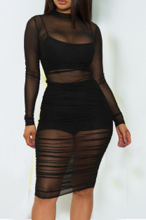 Black Sexy Solid Split Joint See-through Fold O Neck Long Sleeve Three Pieces